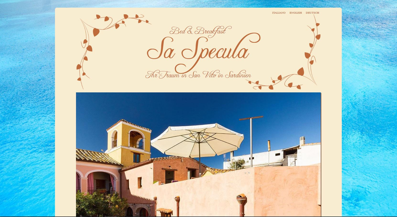 Titelseite der Website des Bed and Breakfast Sa Specula in San Vito, Sardinien